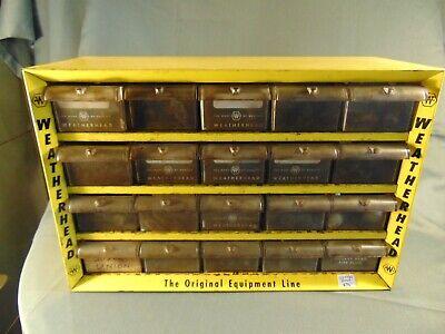 Vintage Weatherhead Yellow Metal Storage Case 20 Drawers Wheel Bolts Drill Bits
