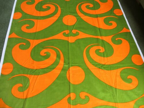 Stunning olive green & orange VELVET fabric - 1960s/70s 246 x 132cm UNUSED