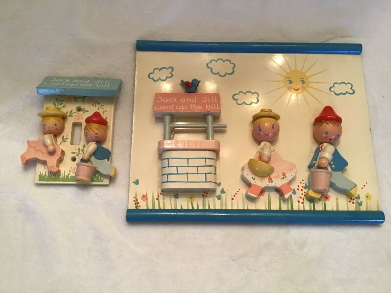 VINTAGE JACK AND JILL NURSERY WALL PLAQUE AND MATCHING LIGHT SWITCH IRMY ORIG