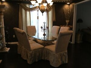 Formal dining room table and 6 chairs