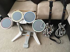 Wii drum set and guitar