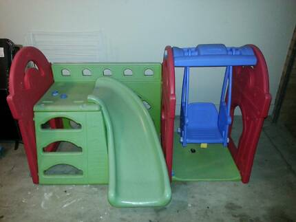 Childrens slide and swing