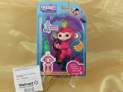 New   Wowwee Fingerlings Interactive Baby Monkey   Bella Pink   Bonus Stand Usa