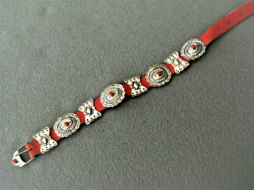 Southwestern Native American Coral Sterling Silver Concho Belt Leather Bracelet