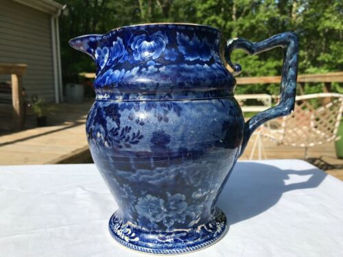 Antique Historical Dark Blue Pitcher Views of the Erie Canal 1830
