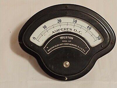 Weston Dc 50 Amperes Model 269 Meter Gauge Very Nice