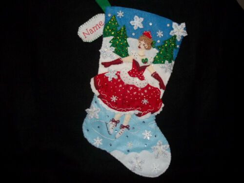 """Christmas Skate Handmade Felt Stocking Personalized Finished Complete Lined 18"""""""