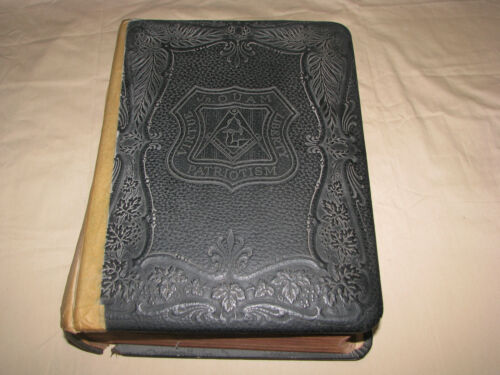 Antique 1891 Leather Holman Freemasonry Masonic HOLY BIBLE w/Beautiful Artwork