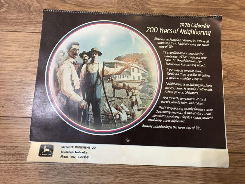 John Deere 1976 Calendar 200 Years of Neighboring