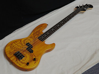 "Luna Tattoo 30"" short scale 4-string Bass guitar Laser Etched - Bstock"