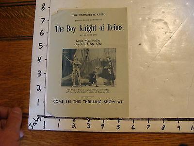 Vintage MARIONETTE Paper: the boy knight of reims --marionette guild
