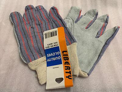 12 Pairs Grey Split Leather Palm Work Gloves 2.5knit Wrist Men Large
