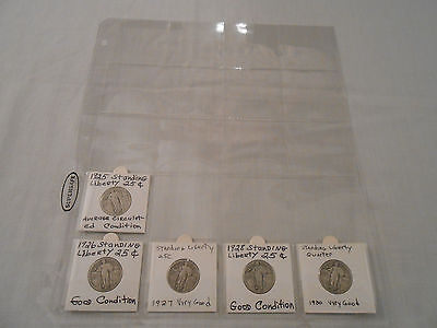 COINS:USA: Standing Liberty Quarter Coin Collection: 5 Coins: 90%Silver/Original