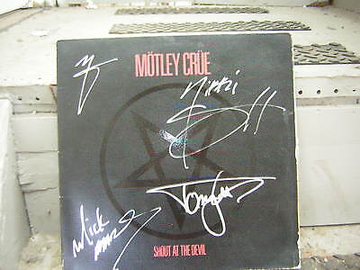 MOTLEY CRUE SIGNED LP SHOUT AT THE DEVIL 1983 NIKKI SIXX