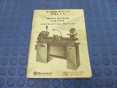 Vintage 1960s Rockwell Delta - 11 Metal Cutting Lathe - Original Manual