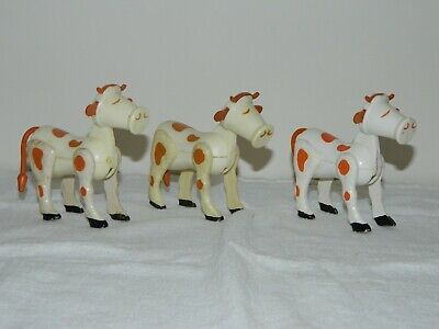 Fisher Price Vintage Little People #915 Farm 3 COWS Replacements LOT