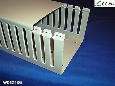 4 New 6x4x2m Wide Finger Open Slot Wiring Ductcable Raceway With Cover Gray