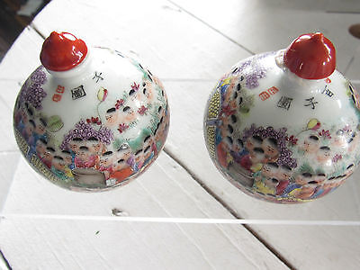 2 Chinese Snuff Bottles Decorated Enamel Modern