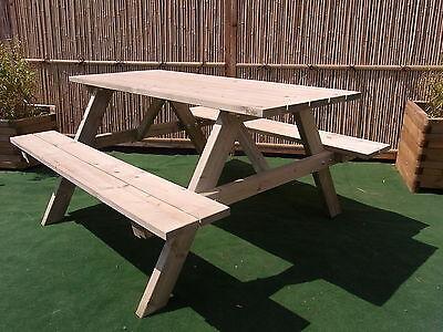 Picknicktisch 150 cm Festzeltgarnitur Gartentisch Gartenbank Bierbank Holztisch