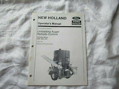New Holland 355 Grinder-mixer Unloading Auger Remote Control Operators Manual