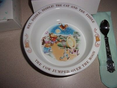 AVON BABY'S KEEPSAKE SPOON AND BOWL SET MOTHER GOOSE PREOWNED - NEVER USED