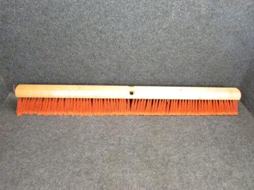 "NOS! 36"" FLOOR BRUSH 3-1/4"" RED FLAG PLASTIC & BLACK PLASTIC BRISTLES"
