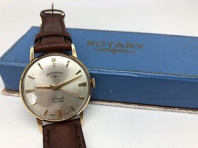 Vintage 9k 9ct Solid Gold Mens Rotary Watch With box