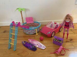 Barbie car, pool, superhero scuba, surfboards treasure chest