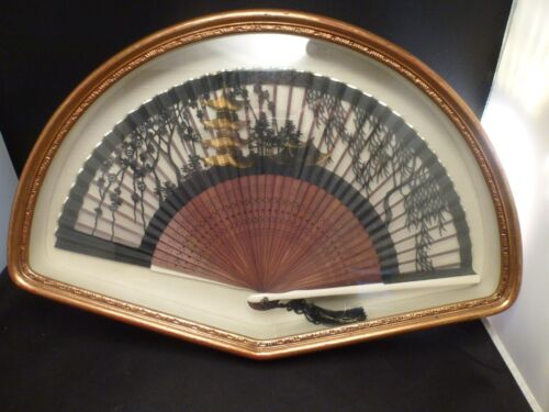 """Vintage Asian Folding Fan In Gilt Frame / Shadow Box   16 3/4 """"  long"""