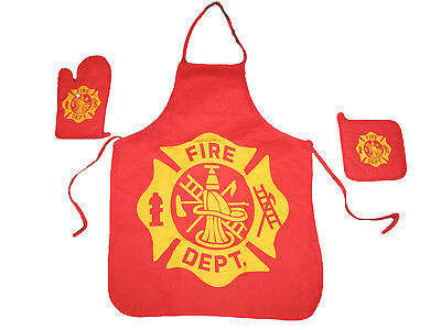 Bbq Firefighter Apron (Fire Department Fire Fighter Printed BBQ Barbecue 3 Piece Cook Set)