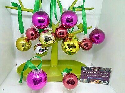 12 45-65mm 1970s Vintage disco baubles, rainbow ornaments Christmas decorations