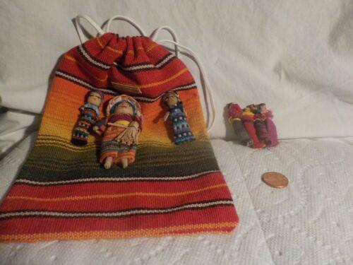 "Handmade Guatemala People Drawstring Bag 9""x6""  & Retro People Brooch Pin"
