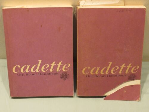 Vintage Cadette Girl Scout Hand Book, Qty 2, 1968 & 1975, 1 Cover Torn/Separated