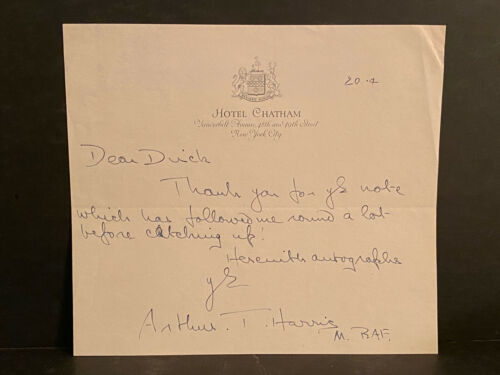 RARE Signature Arthur T Harris Signed Letter by Marshall Royal Air Force AUTO