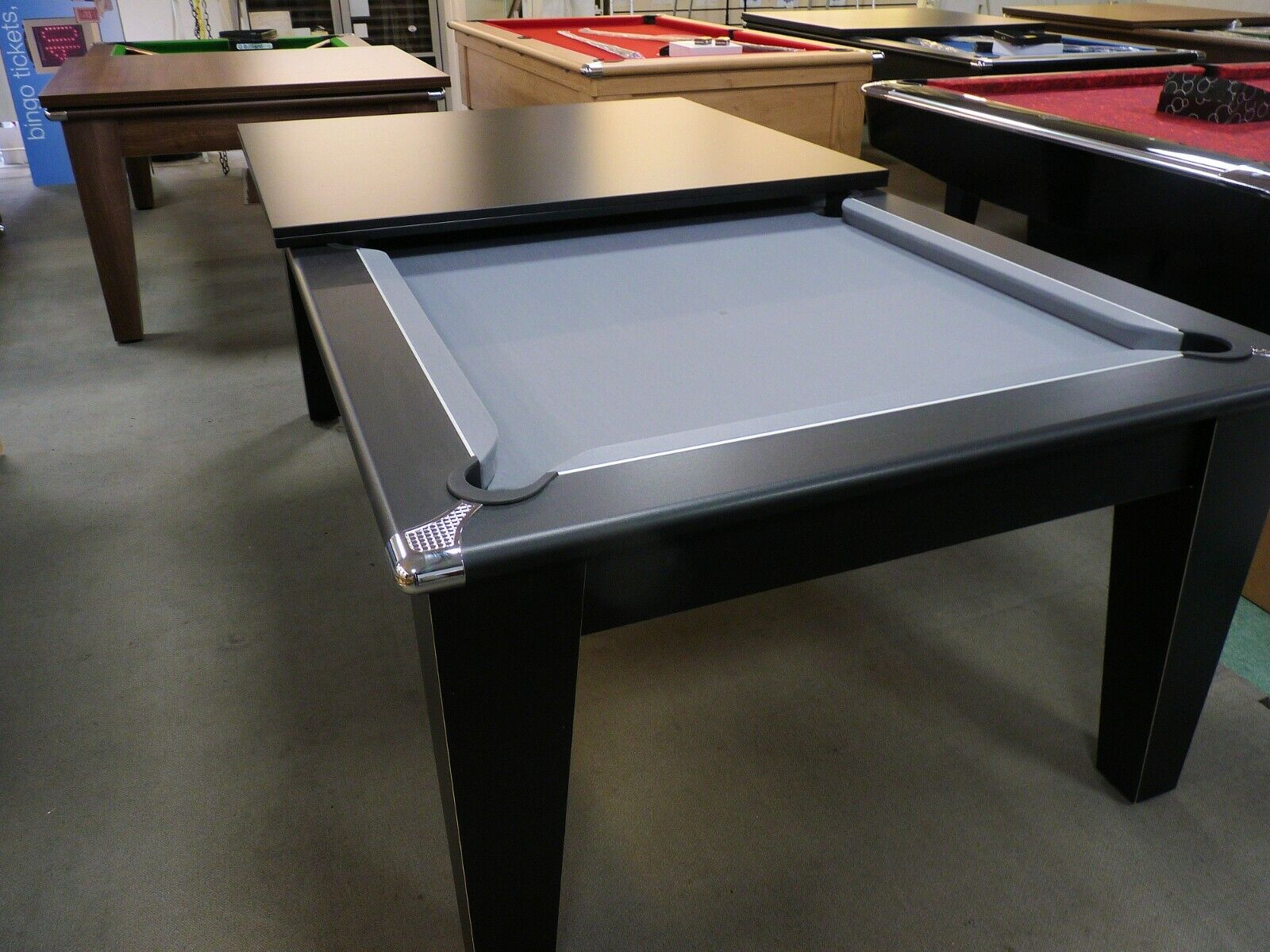 Classic 7ft Pool Dining Table Black Finish with Silver/Grey Cloth