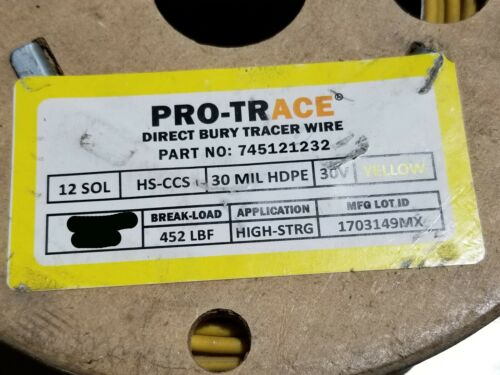 Pro Trace #12awg  HS-CCS 30mil HDPE High Strengh CCS Tracer Wire Yellow /100ft