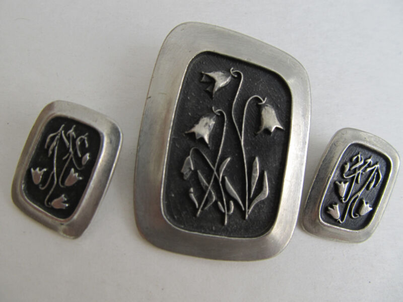 MODERNIST PIN BROOCH SIGNED R Tennesmed Sweden Earrings Set PEWTER Mid-Century