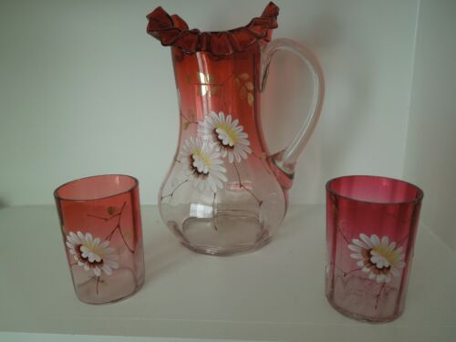 VICTORIAN ENAMELED DECORATED CLEAR to CRANBERRY WATER PITCHER with 2 TUMBLERS