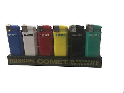 6 Pcs Ronson Comet Electronic Refillable Lighters Jet Flame