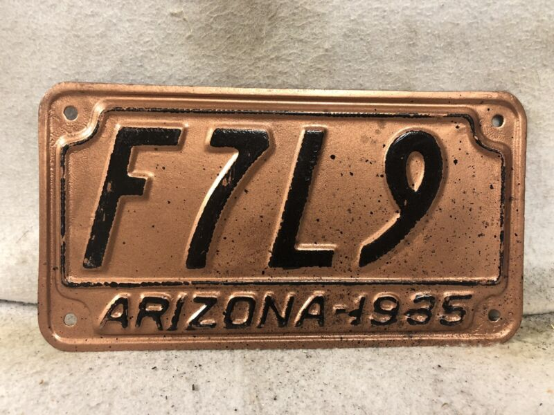 Vintage 1935 Arizona License Plate (Repaint)
