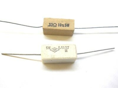 5 Watt 5 Cement Wire Wound Resistors New Old Stockqty 10 Ea Per Lotj12