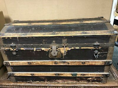 Antique Dome Top Steamer Shipping Chest Trunk Shabby Chic Solid Condition