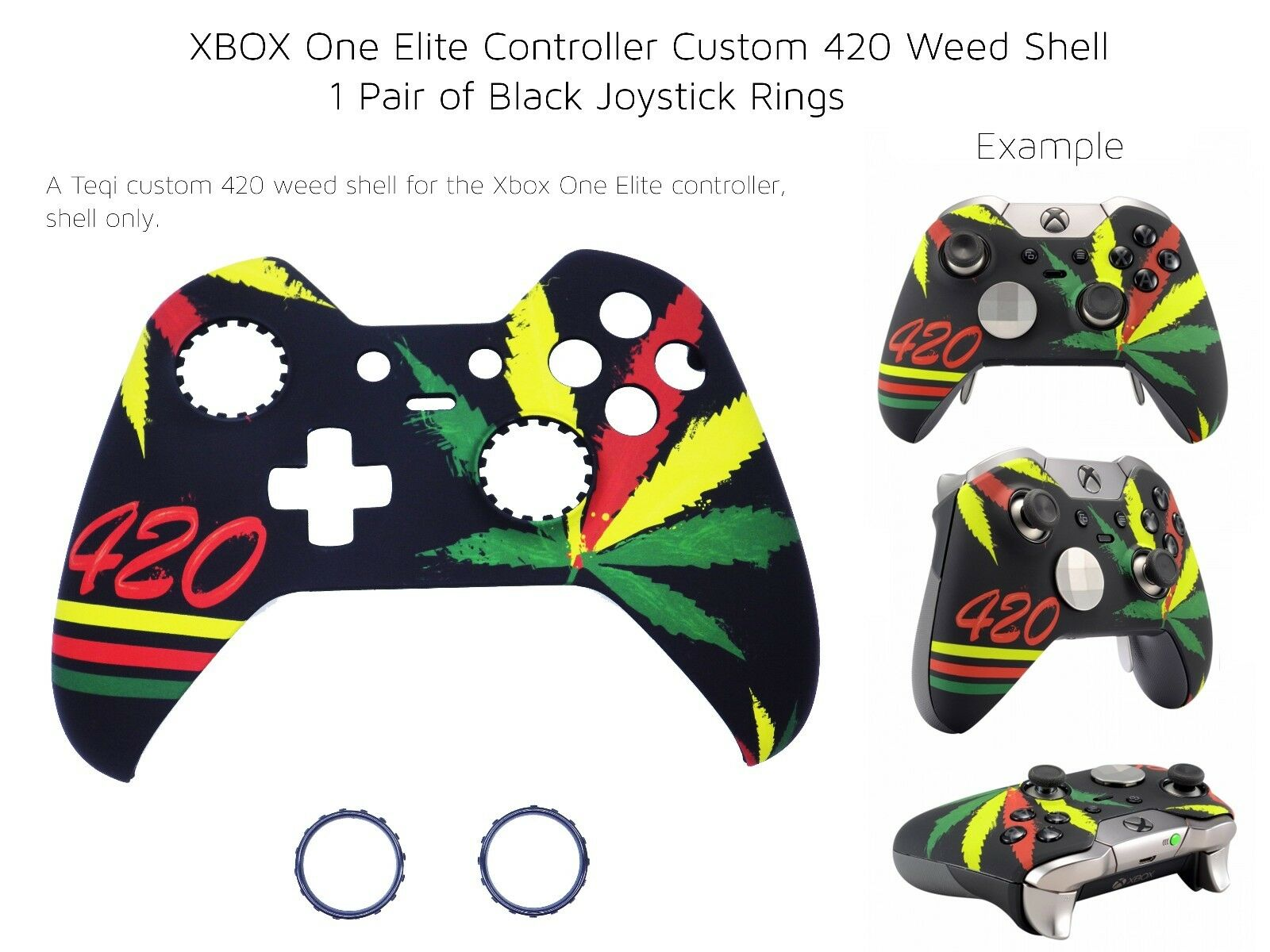 Details about New Xbox One Elite Controller 420 Weed Kush Ganja Front Shell  Unique Mod Rings