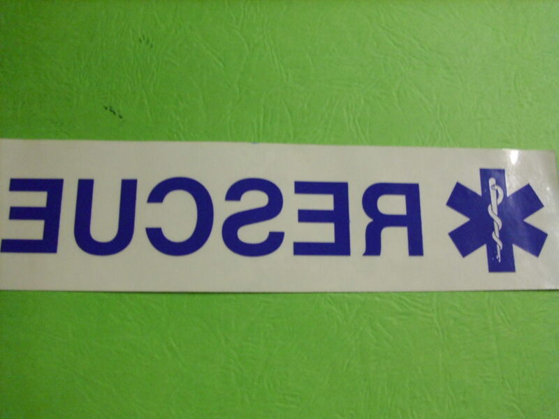 """RESCUE WITH STAR OF LIFE 8"""" CLEAR BACKGROUND INSIDE WINDOW  DECAL"""