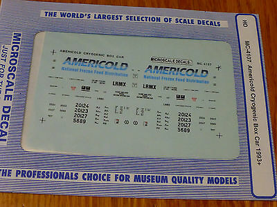 Microscale Decal Ho   Mc 4107 Americold Cryogenic Box Car Dates 1993