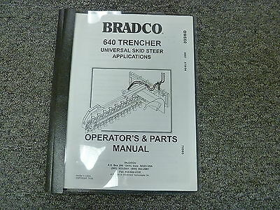 Bradco Model 640 Trencher Parts Catalog Owner Operator Maintenance Manual Book