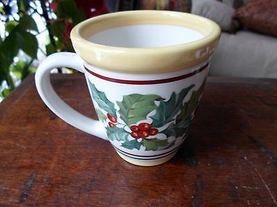 1 Longaberger Pottery American Holly Coffee Tea Cup Mug USA