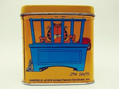 "Vintage Garfield Tin Dakin Inc. Office Humor Hong Kong Square Cube ""I WANT OUT"""