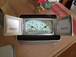 NIB Travel Alarm Clock Dual Time Zones w/ Case Glow-in-dark 2 picture frames