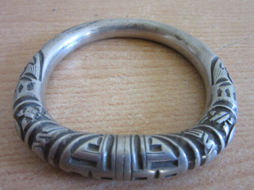 Antique Chinese Silver ornately carved Cuff Bracelet #2